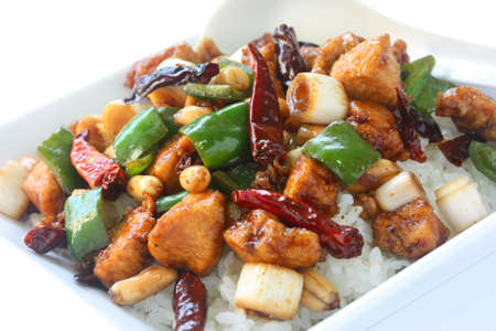 stir up: kung pao chicken over rice , chinese food