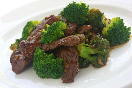 broccoli: broccoli beef , chinese food Stock Photo