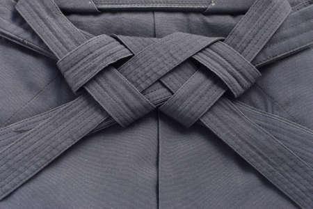 folded aikido hakama , japanese martial arts uniform photo
