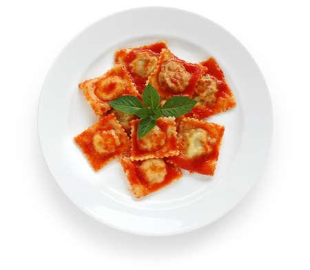 homemade ravioli pasta with tomato sauce , italian food photo