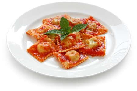 homemade ravioli pasta with tomato sauce , italian food Stock Photo - 10423960