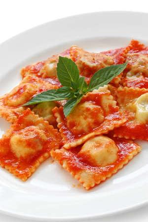 ravioli: homemade ravioli pasta with tomato sauce , italian food