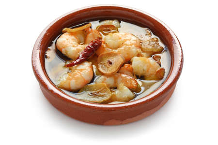 gambas al ajillo , garlic prawns , spanish tapas
