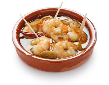 gambas al ajillo , garlic prawns , spanish tapas  Stock Photo - 10597079