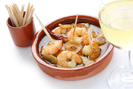 gambas: gambas al ajillo , garlic prawns , spanish tapas  Stock Photo