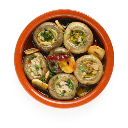 champinones al ajillo , garlic mushrooms , spanish tapas dish Stock Photo - 10622744