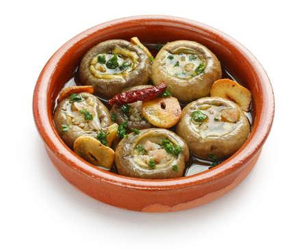 tapas: champinones al ajillo , garlic mushrooms , spanish tapas dish Stock Photo