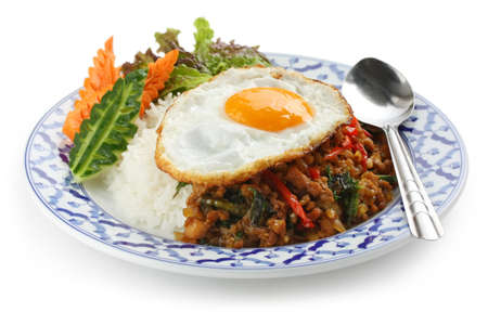 stir fried: stir fried chicken with holy basil , gai pad bai gaprow , thai cuisine
