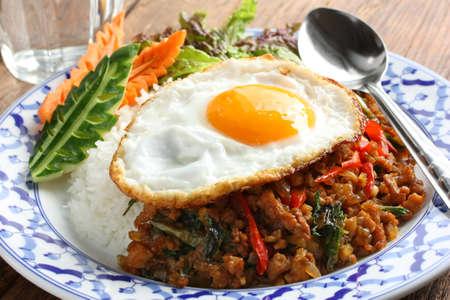 jasmine rice: stir fried chicken with holy basil , gai pad bai gaprow , thai cuisine