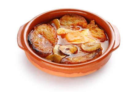 cazuela: sopa de ajo , castilian garlic soup , spanish food