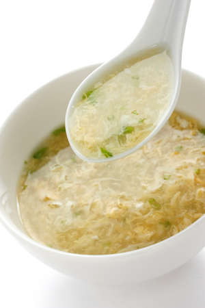 close up food: Egg Drop soep, ei bloem soep, Chinees eten