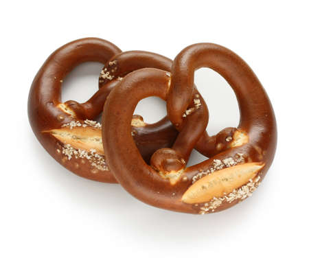 fresh german pretzel on white background 写真素材