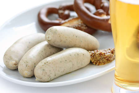 white sausage(weisswurst), pretzel and beer , german food, oktoberfest photo