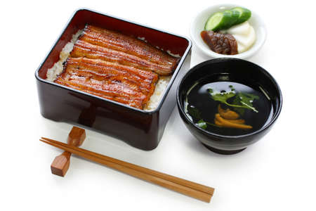 eel:  broiled eel on rice,unaju, japanese unagi cuisine