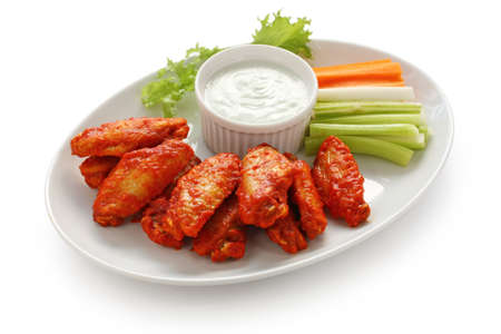 buffalo chicken wings with blue cheese dip photo