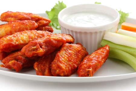 chicken fingers: buffalo chicken wings with blue cheese dip Stock Photo