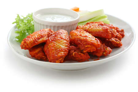 spicy: buffalo chicken wings with blue cheese dip Stock Photo