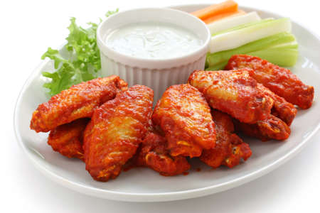 fried chicken wings: buffalo chicken wings with blue cheese dip Stock Photo