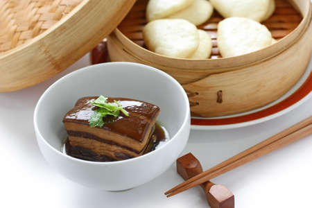 chinese braised pork belly, dongpo pork, with buns photo
