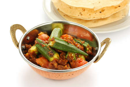 vegetable curry: bhindi masala, okra curry, with papad