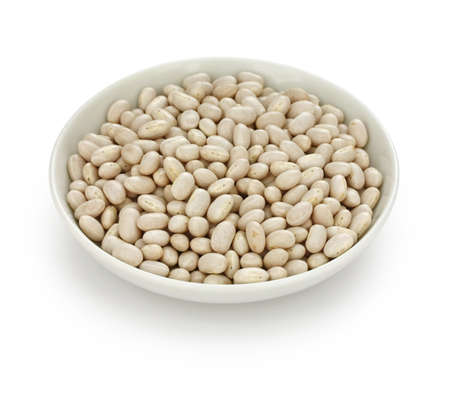 haricot: white navy bean  in a small dish Stock Photo
