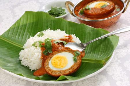 plato de comida: nargisi kofta curry y el arroz, la cocina india