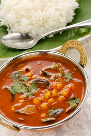curry spices: sambar and rice, south indian cuisine Stock Photo