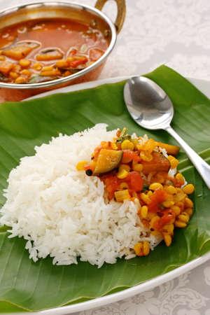 サンバー、米、南インドの料理 写真素材