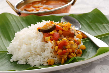 vegetarian cuisine: sambar and rice, south indian cuisine Stock Photo