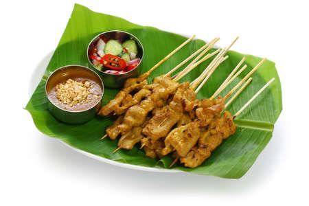 moo satay, pork satay, thai cuisine 스톡 콘텐츠