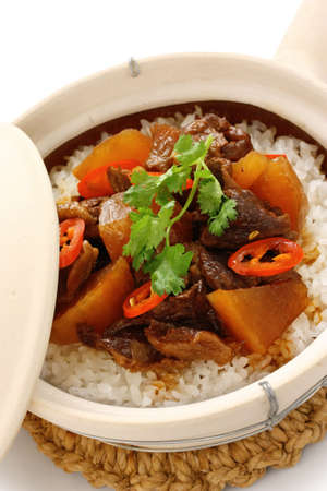 clay pot beef rice, chinese cuisine photo