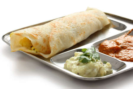 dosa: masala dosa, crispy crepe stuffed spiced potatoes, south indian food