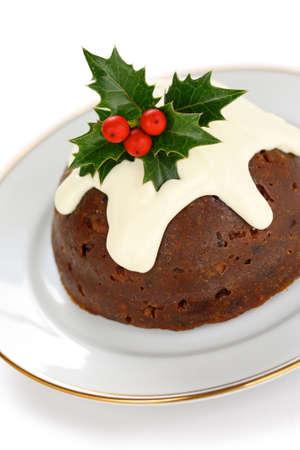 christmas pudding: homemade christmas pudding Stock Photo