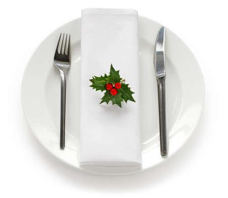 cena navide�a: tabla de ajustes para la cena de Navidad
