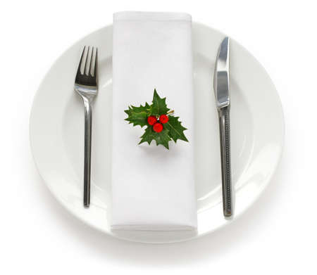 dinner table: table setting for christmas dinner