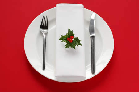 table setting for christmas dinner photo