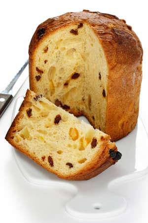 fruit cake: panettone, italian christmas bread Stock Photo