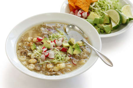 white pozole, mexican soup cuisine photo
