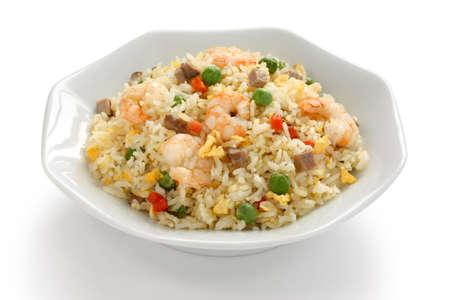 arroz blanco: arroz frito, comida china, estilo de Yangzhou