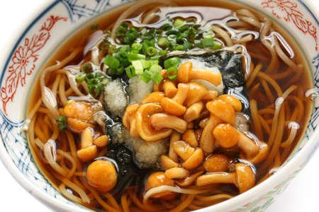 soba: nameko soba, buckwheat noodles topped with japanese popular mushrooms