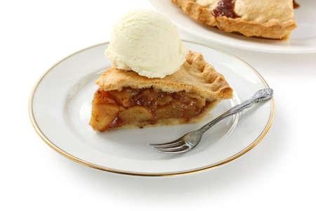 pastel de manzana: tarta de manzana casera con helado Foto de archivo