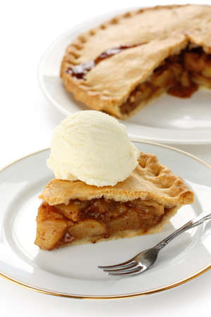 homemade apple pie with ice cream photo