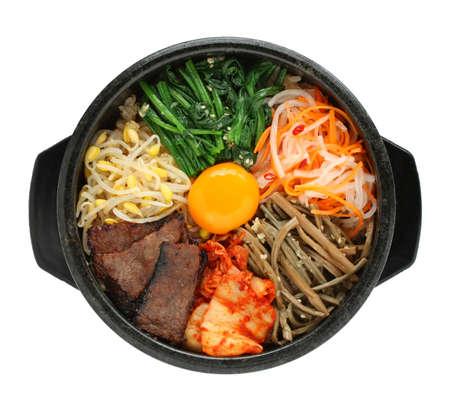 가열 된 돌 그릇, 한국어, 요리에 비빔밥 스톡 콘텐츠