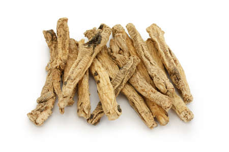 dried herbs: codonopsis roots, traditional chinese herbal medicine Stock Photo