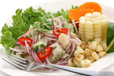 ceviche, seafood dish, peruvian cuisine 写真素材
