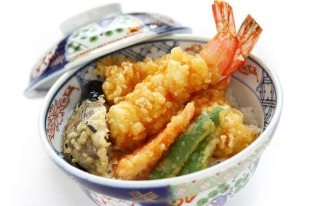 comida japonesa: langostinos en tempura plato, comida japonesa Foto de archivo