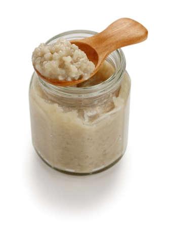 malted: homemade salted rice malt in jar, japanese condiment Stock Photo