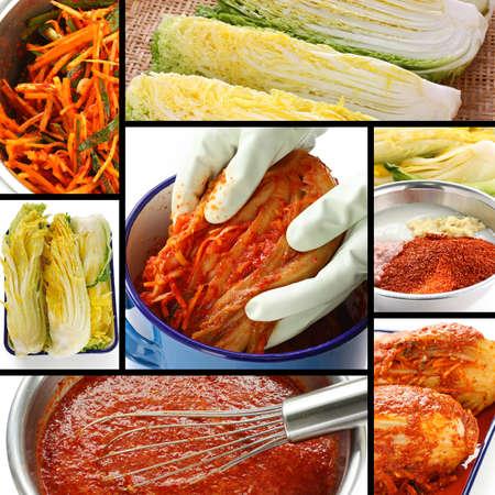 proceso de toma de kimchi, la comida coreana Foto de archivo