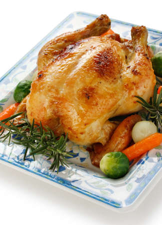close up food: roasted chicken with vegetables