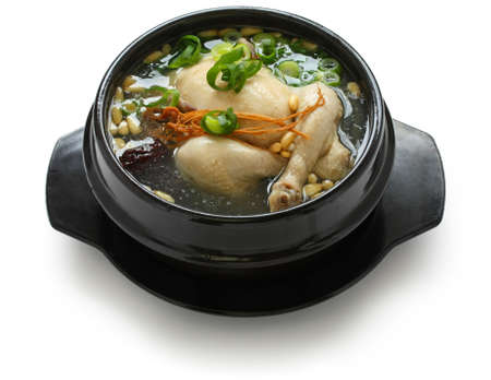 broth: samgyetang, chicken soup with ginseng, korean food